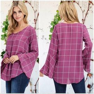 Plum Bell Sleeve Window Pane Plaid Tunic